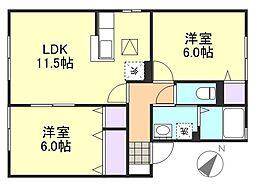 サニープレインA棟鶴新田[1階]の間取り