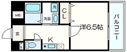 Osaka Metro谷町線 喜連瓜破駅 徒歩9分の賃貸マンション 4階1Kの間取り