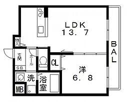 シャーメゾン佐堂[102号室号室]の間取り