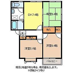 チェリーフレグランスC棟[1階]の間取り