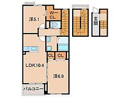 JR紀勢本線 宮前駅 徒歩5分の賃貸アパート 3階2LDKの間取り