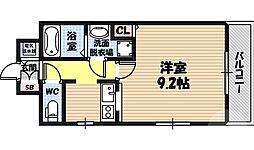 関目タウンビル 7階1Kの間取り