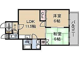 グラントピア新大阪[4階]の間取り
