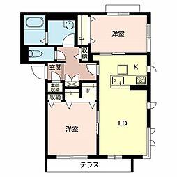 大阪府堺市北区常磐町2丁の賃貸マンションの間取り