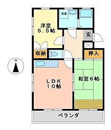 愛知県名古屋市中村区橋下町の賃貸マンションの間取り