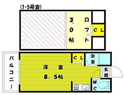 福岡県福岡市東区美和台7丁目の賃貸アパートの間取り