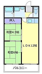サワーハイツ萩原天神 4階2LDKの間取り