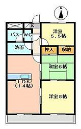 メゾン霞ヶ丘[203号室]の間取り