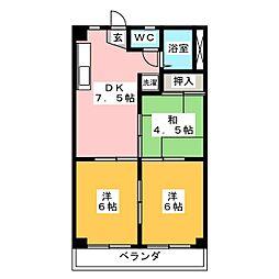 笠井ハイツ[3階]の間取り
