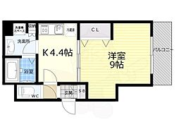 京都市営烏丸線 京都駅 徒歩8分の賃貸マンション 6階1Kの間取り