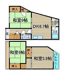 [一戸建] 大阪府堺市東区丈六 の賃貸【/】の間取り