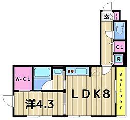 ハイム・グーテンベルク 3階1LDKの間取り