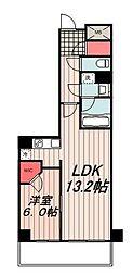 パークアクシス豊洲 20階1LDKの間取り