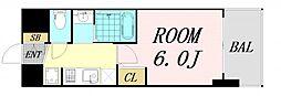 エステムコート難波サウスプレイス6ラグジー 13階1Kの間取り