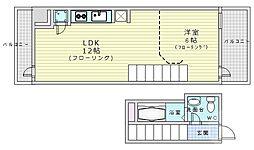 Osaka Metro堺筋線 扇町駅 徒歩5分の賃貸マンション 7階1LDKの間取り