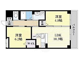 阪急京都本線 西山天王山駅 徒歩15分の賃貸マンション 1階2LDKの間取り