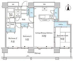 都営大江戸線 勝どき駅 徒歩3分の賃貸マンション 21階3LDKの間取り