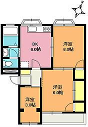 島村第一マンション[203号室]の間取り