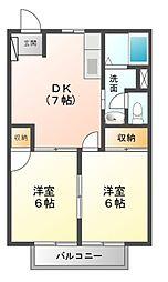 スカイタウン藤井D[2階]の間取り