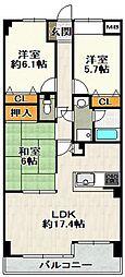 兵庫県宝塚市売布東の町の賃貸マンションの間取り