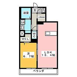 コンフォート平川 2階1LDKの間取り