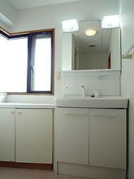 シャンプードレッサ付、小物収納もたっぷりの洗面化粧台洗面スペースには備付の収納もございます