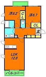 Osaka Metro谷町線 大日駅 徒歩8分の賃貸マンション 3階2LDKの間取り