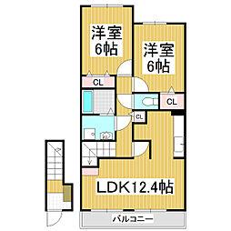 JR飯田線 伊那松島駅 3.6kmの賃貸アパート 2階2LDKの間取り