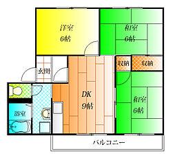 フラッツ誉田[1階]の間取り
