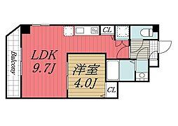 JR総武線 稲毛駅 徒歩3分の賃貸マンション 3階1LDKの間取り