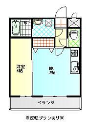 メゾンド・RIOII 4階1DKの間取り