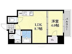 Osaka Metro御堂筋線 江坂駅 徒歩8分の賃貸マンション 3階1LDKの間取り