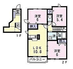 サンライズヒル2[2階]の間取り