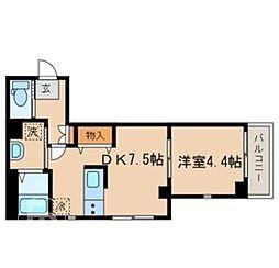 JR山手線 目黒駅 徒歩8分の賃貸マンション 2階1DKの間取り