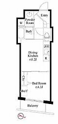 都営新宿線 岩本町駅 徒歩3分の賃貸マンション 7階1DKの間取り