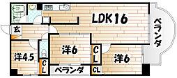 福岡県北九州市若松区高須東3丁目の賃貸マンションの間取り