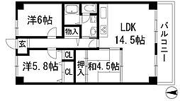 ジャルダン宝塚中山台弐番館A棟[12階]の間取り