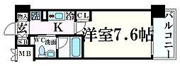 神戸市海岸線 みなと元町駅 徒歩1分の賃貸マンション 8階1Kの間取り
