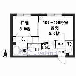 札幌市営東豊線 豊平公園駅 徒歩7分の賃貸マンション 2階1LDKの間取り