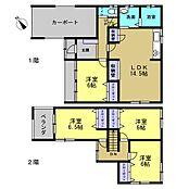 リフォーム済リフォーム後の間取りです。1階の和室は洋室に変更し、14.5帖のLDKになりました。収納スペースもたっぷりあります。1階に洋室1部屋、2階には洋室が3部屋あります。