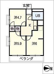 Casa月ノ会[4階]の間取り