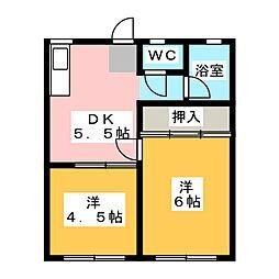大島ハイツ[1階]の間取り