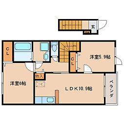 近鉄生駒線 南生駒駅 徒歩5分の賃貸アパート 2階2LDKの間取り