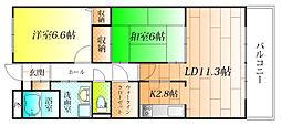 近鉄南大阪線 恵我ノ荘駅 徒歩9分の賃貸マンション 1階2LDKの間取り