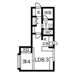 札幌市営東西線 西11丁目駅 徒歩10分の賃貸マンション 2階ワンルームの間取り