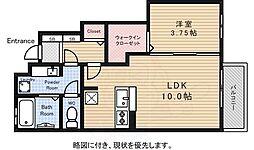 JR中央線 東小金井駅 徒歩12分の賃貸アパート 1階1LDKの間取り