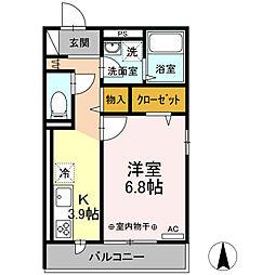 (仮称)D-room小田原市浜町アパート 3階1Kの間取り