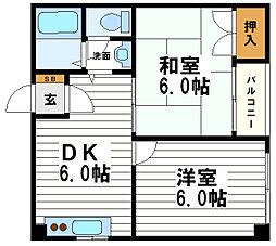 コーポ泰山 天王寺[7階]の間取り