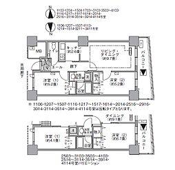 都営大江戸線 汐留駅 徒歩4分の賃貸マンション 41階2LDKの間取り