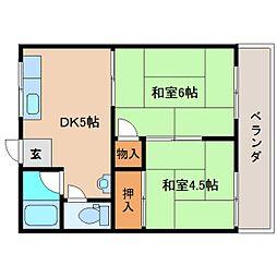 奈良県奈良市富雄川西1丁目の賃貸アパートの間取り